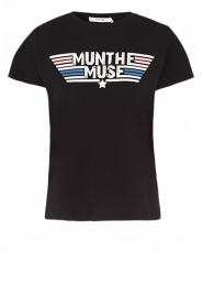 Munthe |  T-shirt with text print Jackfruit | black  | Picture 1