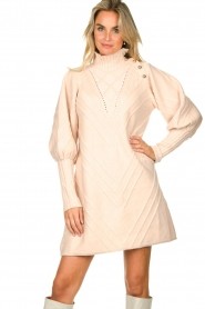 Silvian Heach |  Knitted balloon sleeve dress Maverix | nude  | Picture 2