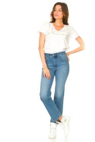 Liu Jo Sport |  Cotton T-shirt with logo Shine | white  | Picture 3