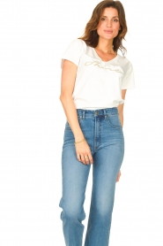 Liu Jo Sport |  Cotton T-shirt with logo Shine | white  | Picture 2