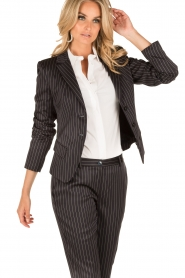 Patrizia Pepe |  Blazer with stripes Uma | dark blue  | Picture 4