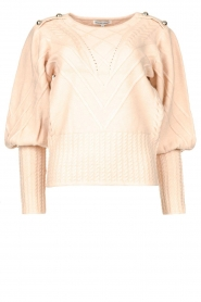 Silvian Heach |  Cable knit with puff sleeves Hortense | nude  | Picture 1