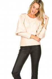 Silvian Heach |  Cable knit with puff sleeves Hortense | nude  | Picture 5