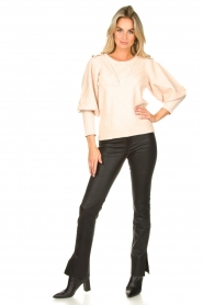 Silvian Heach |  Cable knit with puff sleeves Hortense | nude  | Picture 3