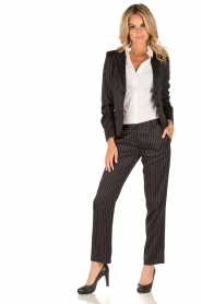 Patrizia Pepe | Pantalon met krijtstreep Melanie | donkerblauw  | Afbeelding 3