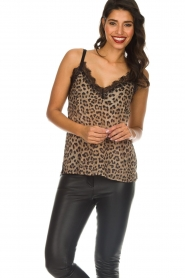 Set |  Sleeveless leopard printed top Channah | brown  | Picture 2