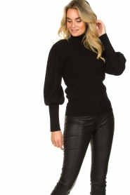 Silvian Heach |  Turtleneck sweater with balloon sleeves Safari | black  | Picture 5