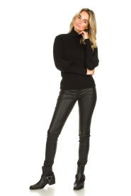 Silvian Heach |  Turtleneck sweater with balloon sleeves Safari | black  | Picture 3