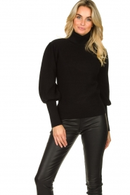 Silvian Heach |  Turtleneck sweater with balloon sleeves Safari | black  | Picture 2