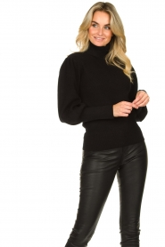 Silvian Heach |  Turtleneck sweater with balloon sleeves Safari | black  | Picture 4