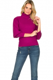 Silvian Heach |  Turtleneck sweater with balloon sleeves Safari | pink  | Picture 2