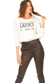 Liu Jo Sport | Katoenen trui met logo Seva | wit  | Afbeelding 4