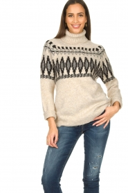 Silvian Heach |  Turtleneck sweater with print Bismarch | natural  | Picture 2