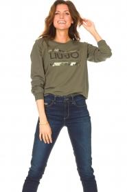 Liu Jo Sport |  Cotton sweater with logo Seva | green  | Picture 2