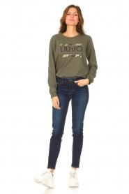 Liu Jo Sport |  Cotton sweater with logo Seva | green  | Picture 3