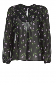 Blouse with floral pattern Espen | black