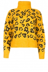 Silvian Heach |  Turtleneck sweater with leopard print Trees | yellow  | Picture 1