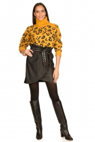 Silvian Heach |  Turtleneck sweater with leopard print Trees | yellow  | Picture 3