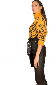 Silvian Heach |  Turtleneck sweater with leopard print Trees | yellow  | Picture 6