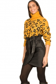 Silvian Heach |  Turtleneck sweater with leopard print Trees | yellow  | Picture 4