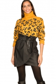 Silvian Heach |  Turtleneck sweater with leopard print Trees | yellow  | Picture 2