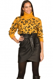 Silvian Heach |  Turtleneck sweater with leopard print Trees | yellow  | Picture 5