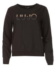 Liu Jo Sport |  Cotton sweater with logo Seva | black  | Picture 1