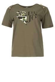 Liu Jo Sport |  Cotton T-shirt with imprint Tyara | green  | Picture 1