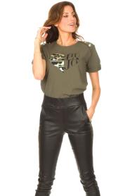 Liu Jo Sport |  Cotton T-shirt with imprint Tyara | green  | Picture 4