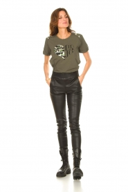 Liu Jo Sport |  Cotton T-shirt with imprint Tyara | green  | Picture 3