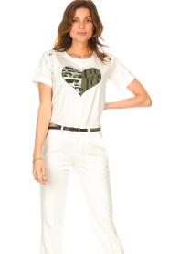 Liu Jo Sport |  Cotton T-shirt with imprint Tyara | white  | Picture 4