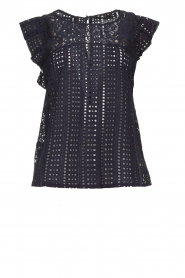 Set |  Top with embroideries and cut-out details Lizzie | blue  | Picture 1