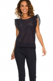 Set |  Top with embroideries and cut-out details Lizzie | blue  | Picture 2