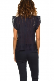Set |  Top with embroideries and cut-out details Lizzie | blue  | Picture 5