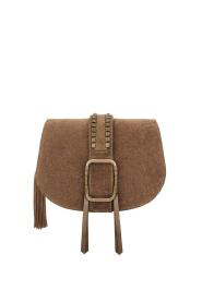 ba&sh |  Suede shoulder bag Medium Teddy | kaki  | Picture 1