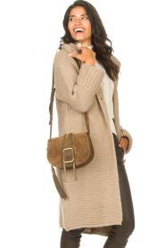 ba&sh |  Suede shoulder bag Medium Teddy | kaki  | Picture 3
