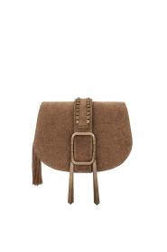 ba&sh |  Suede shoulder bag Small Teddy | kaki  | Picture 1