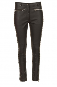 Silvian Heach |  Faux leather pants with studded sides Bexifull | black  | Picture 1