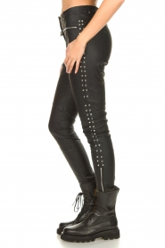 Silvian Heach |  Faux leather pants with studded sides Bexifull | black  | Picture 5