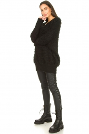 Silvian Heach :  Faux leather pants with studded sides Bexifull | black - img2