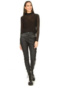 Silvian Heach :  Faux leather pants with studded sides Bexifull | black - img3