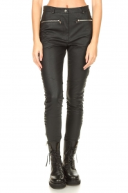 Silvian Heach :  Faux leather pants with studded sides Bexifull | black - img4