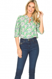 Lolly's Laundry |  Blouse with print Bono | green  | Picture 5