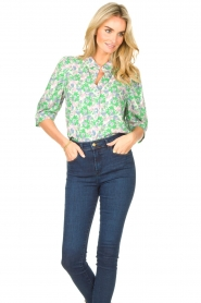 Lolly's Laundry |  Blouse with print Bono | green  | Picture 4