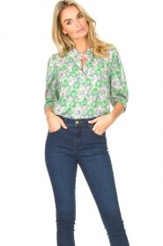 Lolly's Laundry |  Blouse with print Bono | green  | Picture 2