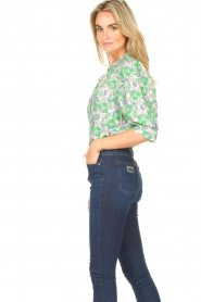 Lolly's Laundry |  Blouse with print Bono | green  | Picture 6