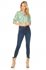Lolly's Laundry |  Blouse with print Bono | green  | Picture 3