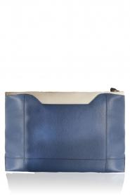 Furla | Leren clutch Pochette Fantasia XL | blauw en wit    | Afbeelding 4