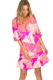 Alice & Trixie |  Silk printed dress Phille | pink  | Picture 4