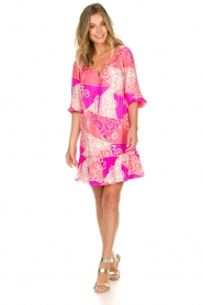Alice & Trixie |  Silk printed dress Phille | pink  | Picture 3